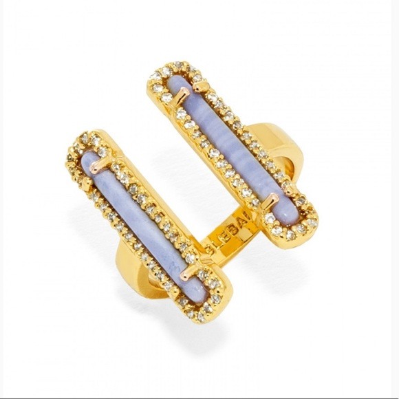 BaubleBar Jewelry - Baublebar Molly purple double bar ring gold